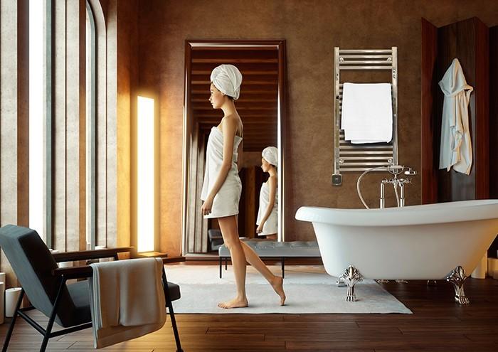 Elegant handdukstork med runda raka rör