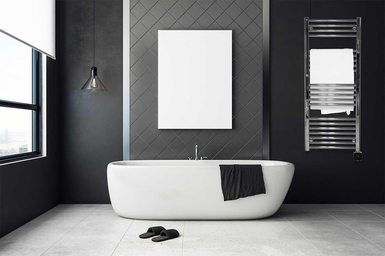 snygg handdukstork i badrum av modell Glava TKRD-512
