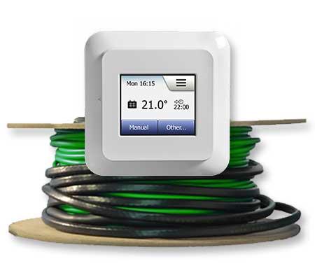 golvvärmepaket med kabel och touchtermostat